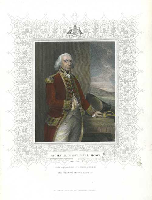Naval Tallis engraving. Richard, First Earl Howe antique print c1854