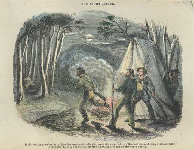 Goldfields. Night Attack. Sherer antique engraving c1853.
