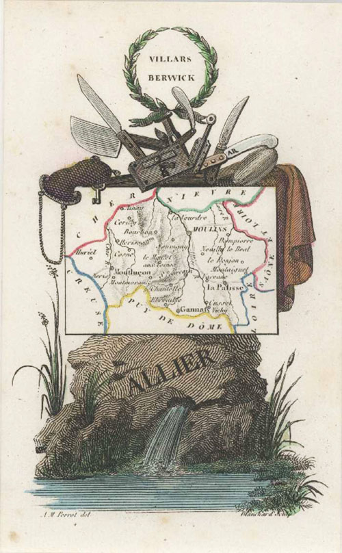 Allier, Auvergne, France Miniature Antique Map by Perrot c1834