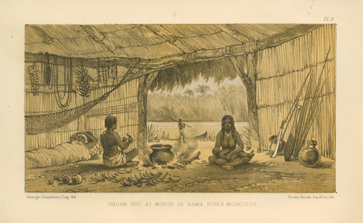 Indian Hut at Mouth of Rama River, Mosquito (Nicaragua) c1869.