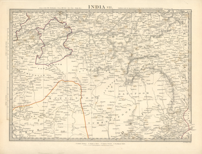 British Territory, Rajah of Berar, Rajah of Rewah, Bundlecund Chiefs. India c1832
