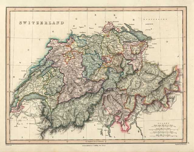 Switzerland. Fine original Antique Map by C. Smith c1836