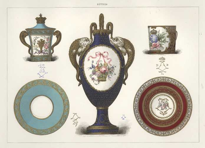 Sevres Porcelain for the Dauphin. Antique lithograph c1890.