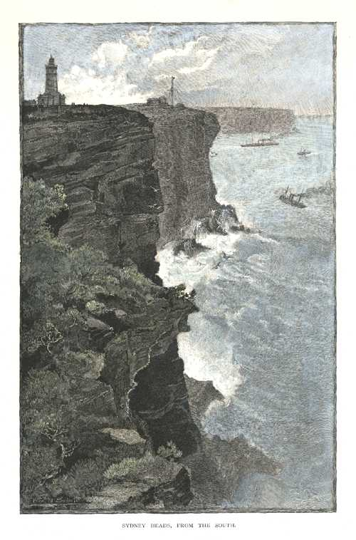Sydney Heads, from the south. Engraving after Schell c1886