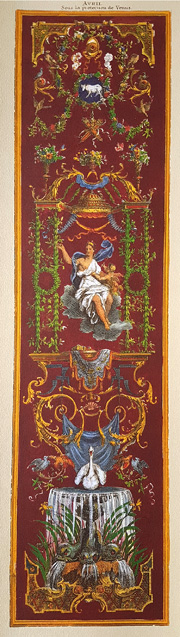 "April ""Avril"" print of 18th century classical calendar panel."