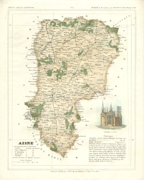 Aisne, & Laon Cathedral. French Department antique map c1833.