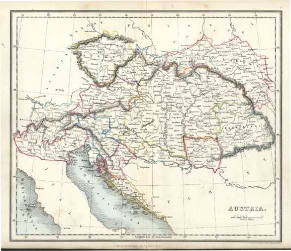 Austria Antique Map by Alex Findlay & W. Tegg c1853