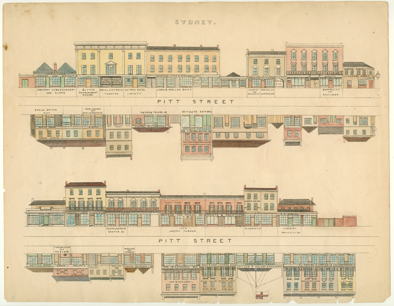 NSW. Fowles Sydney street elevation. Pitt Street engraving c1845