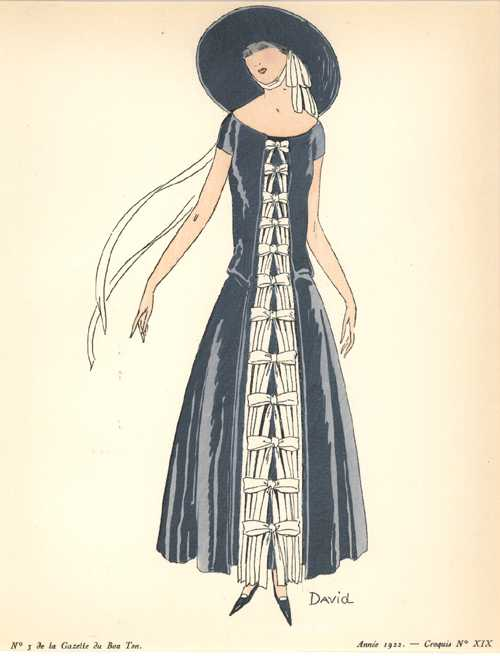 Ribbons and Bows, 1920's Fashion Sketch. Croquis XIX