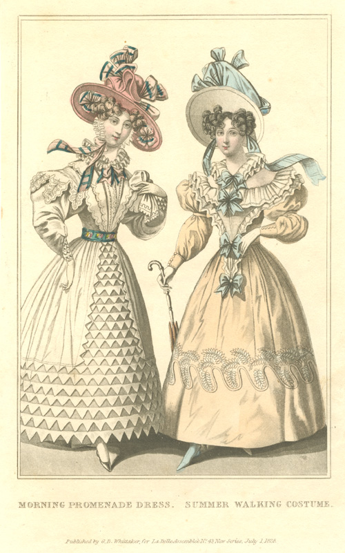 Morning Promenade Dress. Summer Walking Costume. Engraving c1828