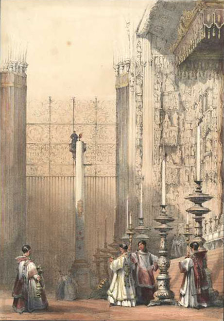 High Altar during Mass, Seville Cathedral lithograph. David Roberts c1837.