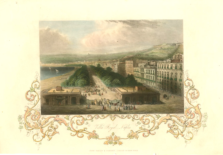 Villa Royal, Naples antique print. John Tallis, c1845.