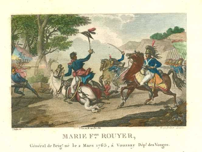 Military battle scene. Marie Francois Rouyer Chef de Brigade. Engraving c1810