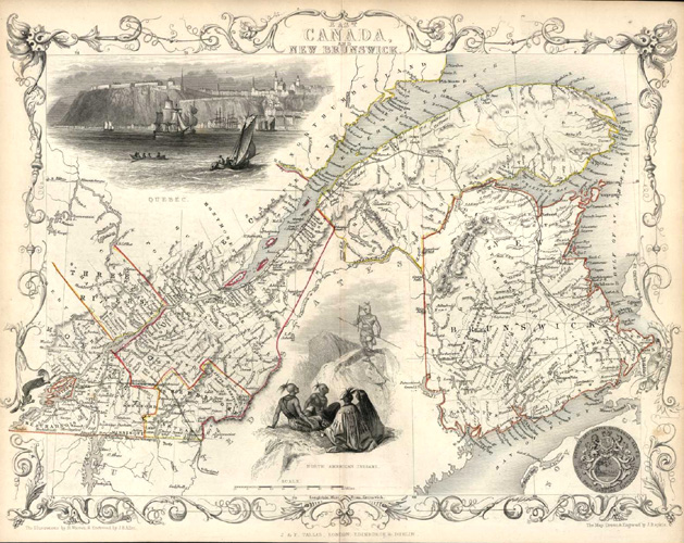 Antique map of East Canada and New Brunswick. J&F Tallis c1850.
