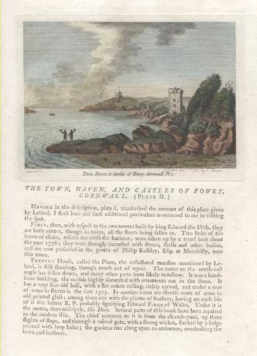 Grose. Town, Haven, and Castles of Fowey, Cornwall. Plate 2.  c1787