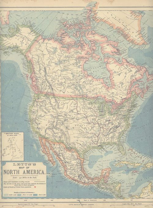 Letts's Map of North America. Antique map of USA c1883