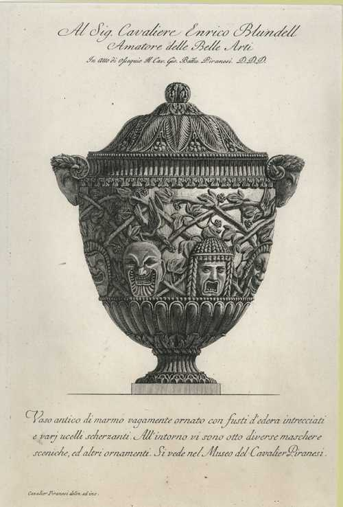 Rare Piranesi urn etching c1778. Marble antique vase.