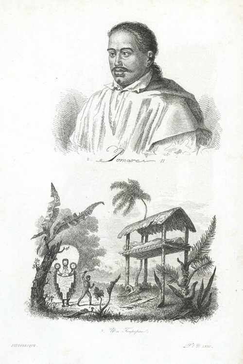 Tahiti. Pomare. Un Toupapau (elevated burial place). D'Urville c1834