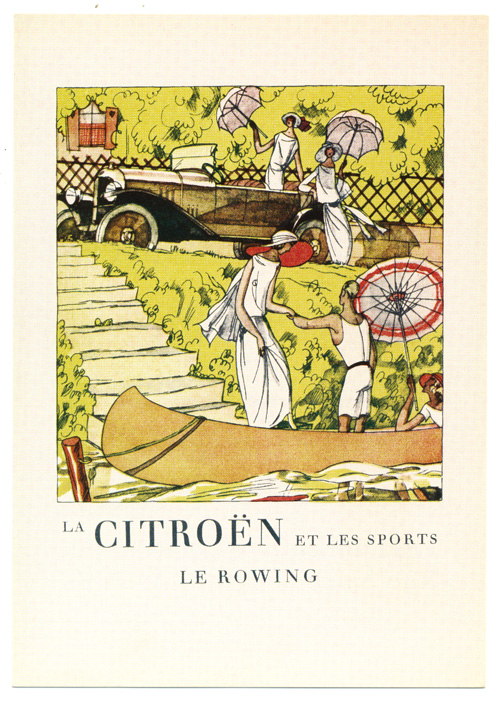 Le Rowing (Canoeing-Paddling). 1920s Fashion, Sport, Citroen Car.
