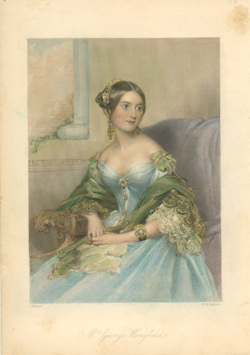 Mrs George Wingfield portrait of beautiful young lady. c1843