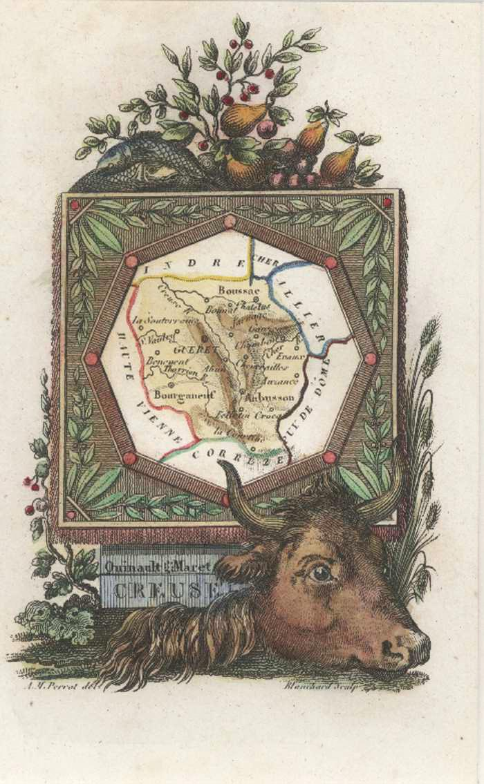 Creuse, Limousin, France Miniature Antique Map by Perrot c1834