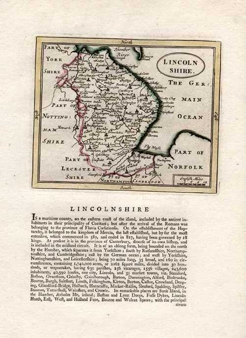 Lincolnshire Antique Map by Seller after John Speed. Francis Grose c1787