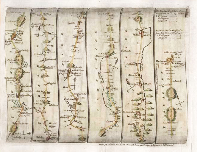 Ogilby road map updated by Senex: Roads through Yorkshire c1757.