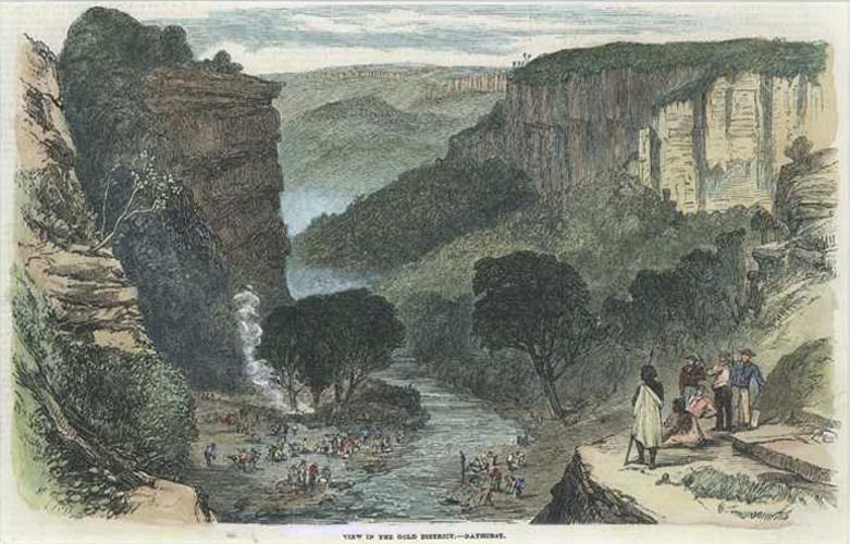 Gold. View in the Gold District. Bathurst. Engraving c1863