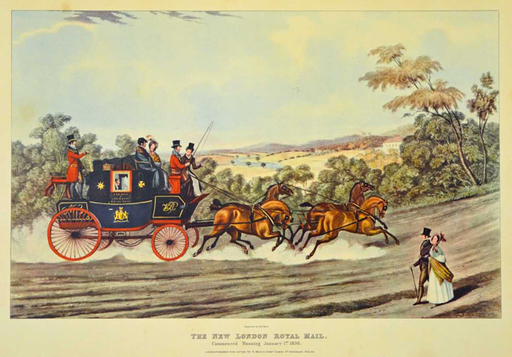 The New London Royal Mail Coach. Large reproduction print.