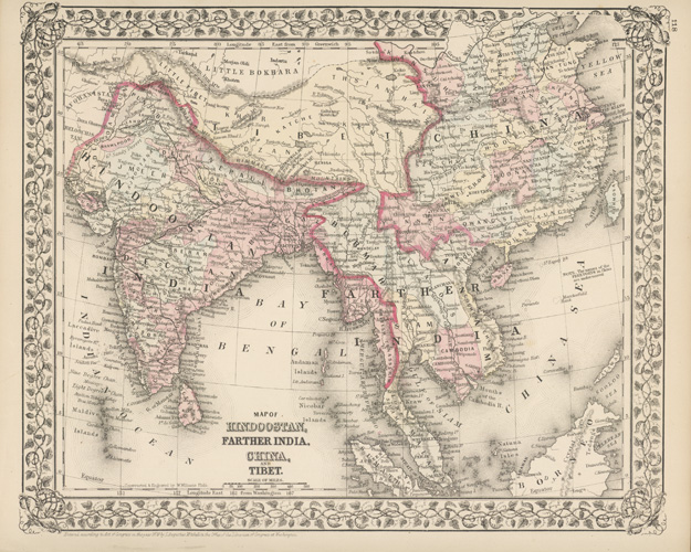 Hindoostan, Farther India, China, and Tibet antique map c1879.