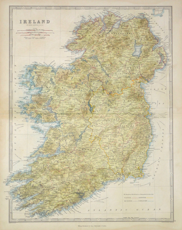 Antique map of Ireland by Keith Johnston, FRSE, c1861.