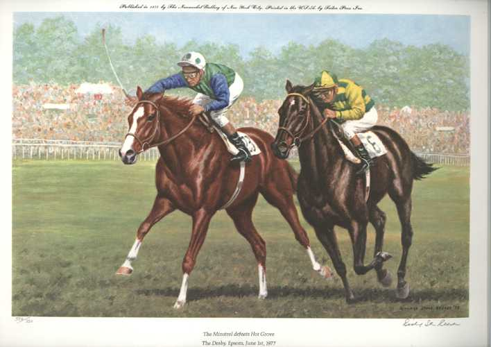 Horse Race portrait. Richard Stone Reeves Limited Edition Lithograph. The Derby, Epsom Horse-Racing