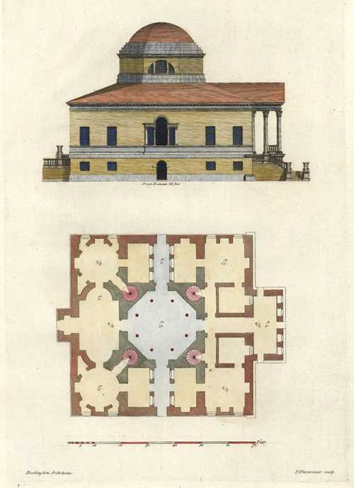 Burlington Architectus Side Elevation & floorplan. Pl.70 c1725