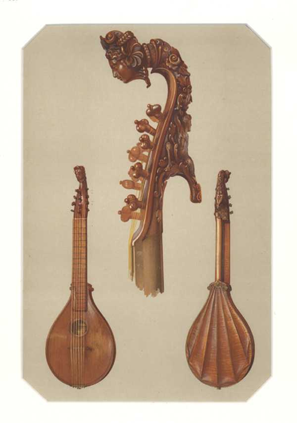 Stradivarius Cetera or Cither c1700. William Gibb Lithograph for HIpkins c1888.