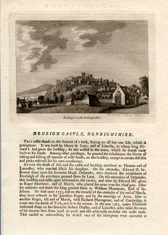 Grose engraving of Denbigh Castle, Denbighshire with text. c1785