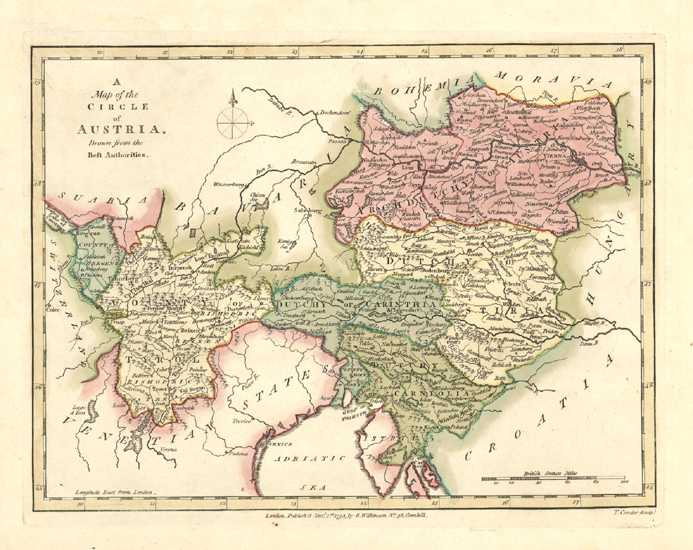 Austria Antique Map by Robert Wilkinson c1794