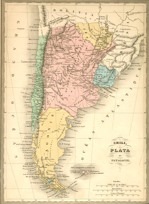 Chili, Plata et Patagonie antique map. Alexandre Vuillemin, c