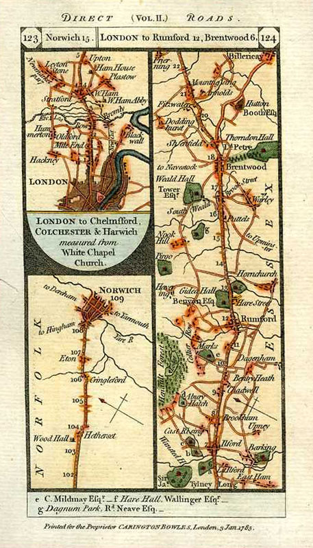 Paterson Road Maps. London to Upton, Rumford, Brentwood & Norwich c1785