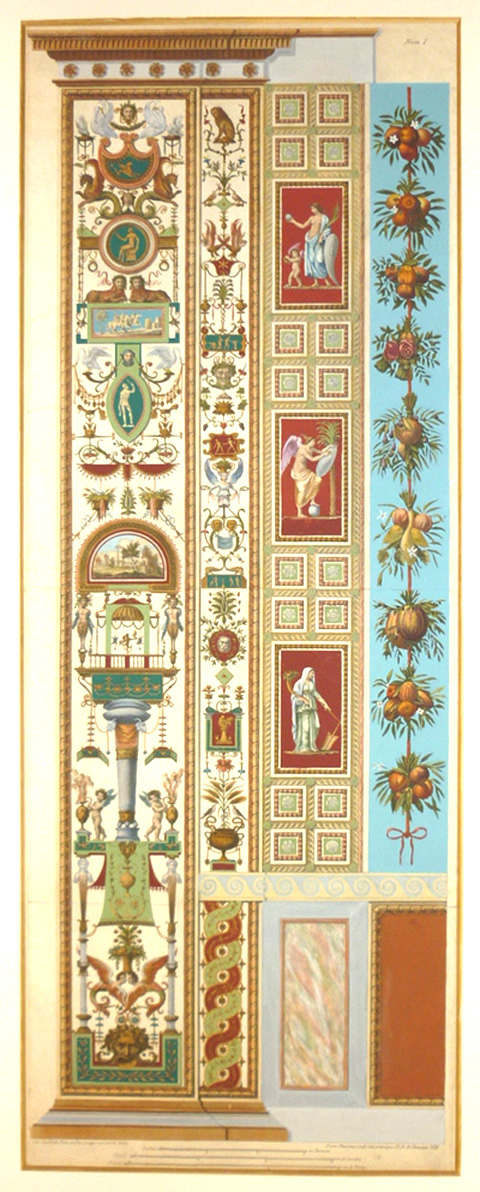 Superb Raphael Pilaster Fresco from the Vatican Loggia. Engraved c1777.