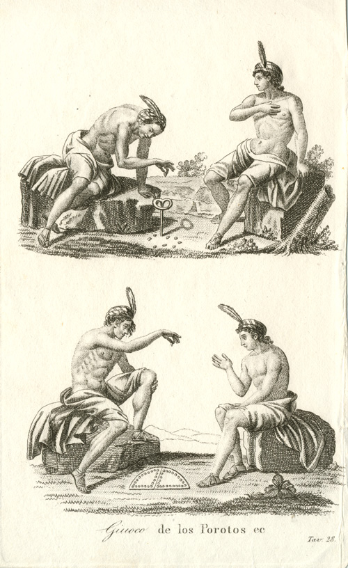 Central American Indian Game with Beans. Antique print c1800.