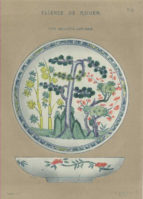 Faience Porcelain Bowl, Hollando Japonais. Delaroque antique print c1870