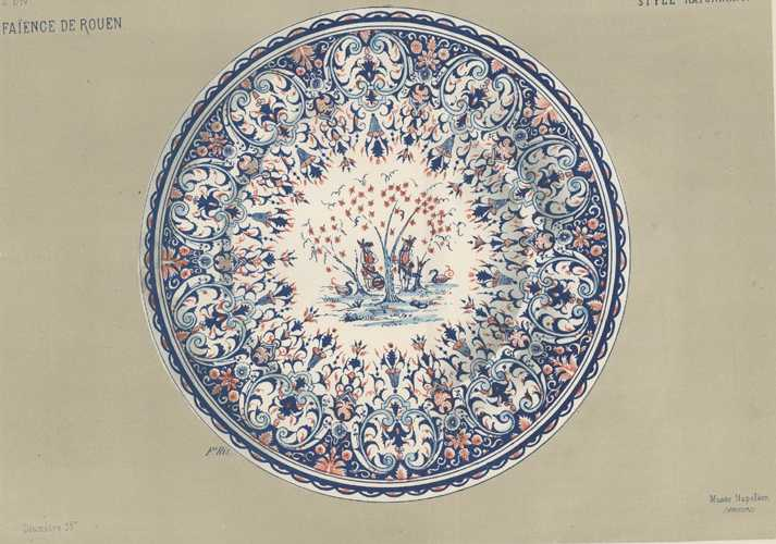Large lithograph of Faience Platter in Rayonnant style. c1870