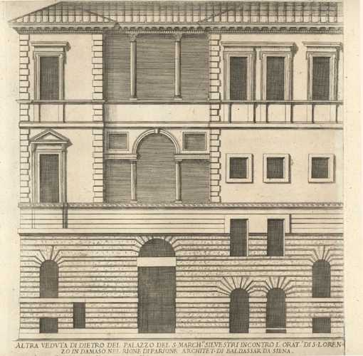 Falda Architectural elevation and floorplan (2) antique prints c1660