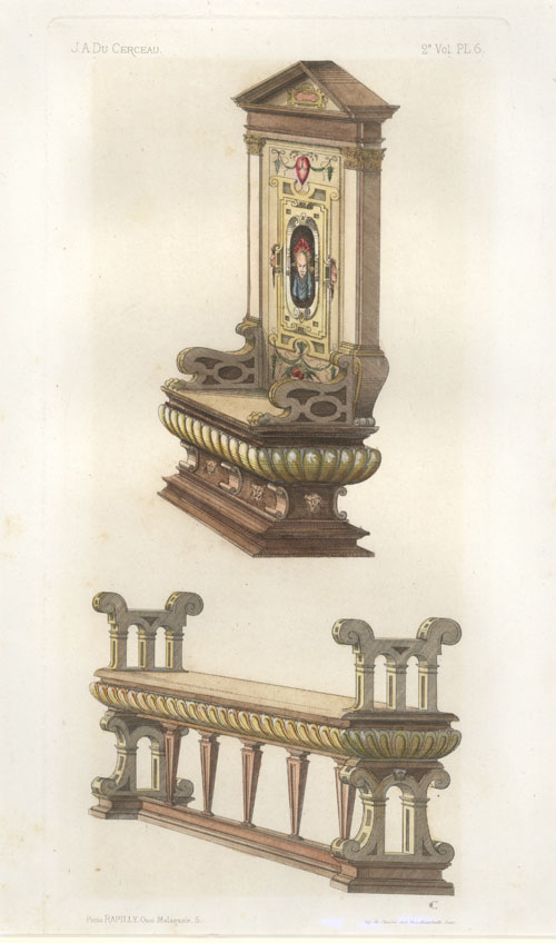 Half-price throne and bench, Du Cerceau furnishings engraving.