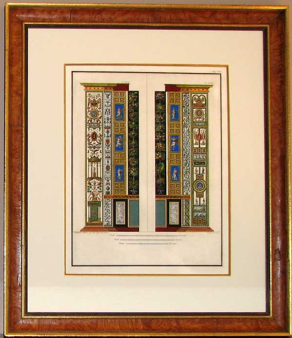 Vatican pilasters by Raphael. Framed antique print c1800.