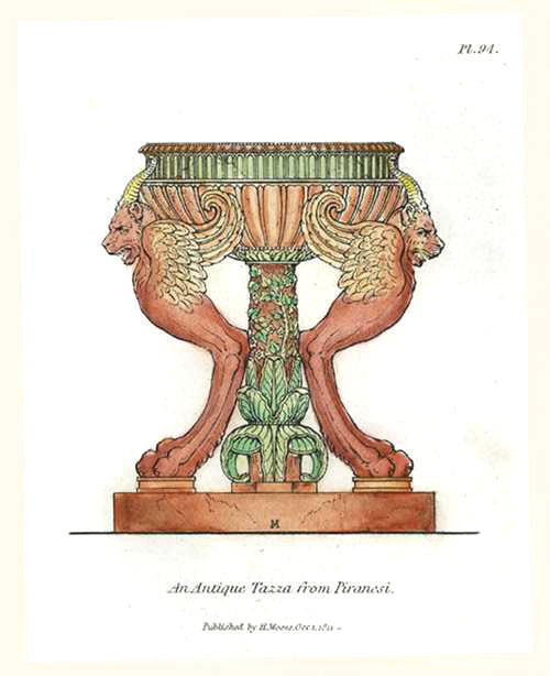 Superb Antique Tazza from Piranesi. Engraved by Henry Moses c1811