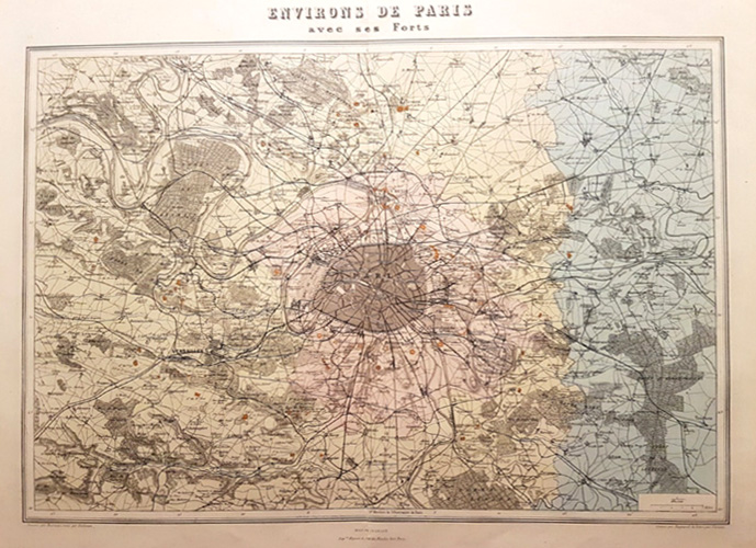 Paris Environs & Forts. Vuillemin antique map c1880
