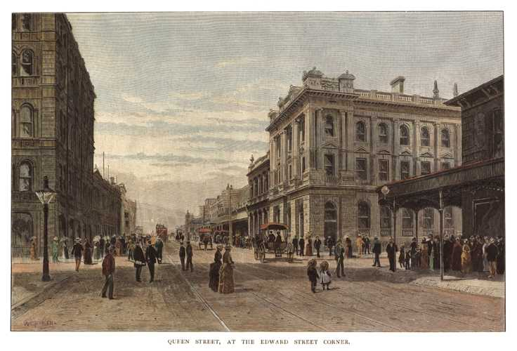 Brisbane, Queen Street at the Edward Street Corner. view c1886