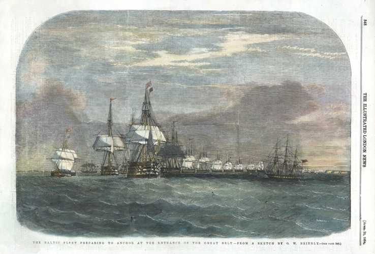 Crimean War: Baltic Fleet preparing to anchor. (after Oswald Brierly).