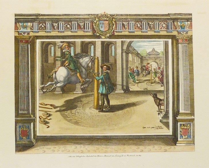 Pluvinel Art of Horsemanship, hand-coloured print.